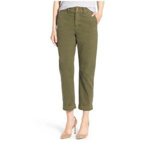 Madewell High Rise Army Green Straight Chino Pants